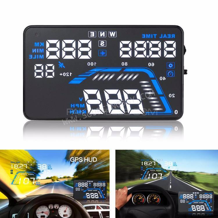 "Q7 5.5"" Car HUD Head Up Display GPS Speed Warning System Real Time New Image-1"