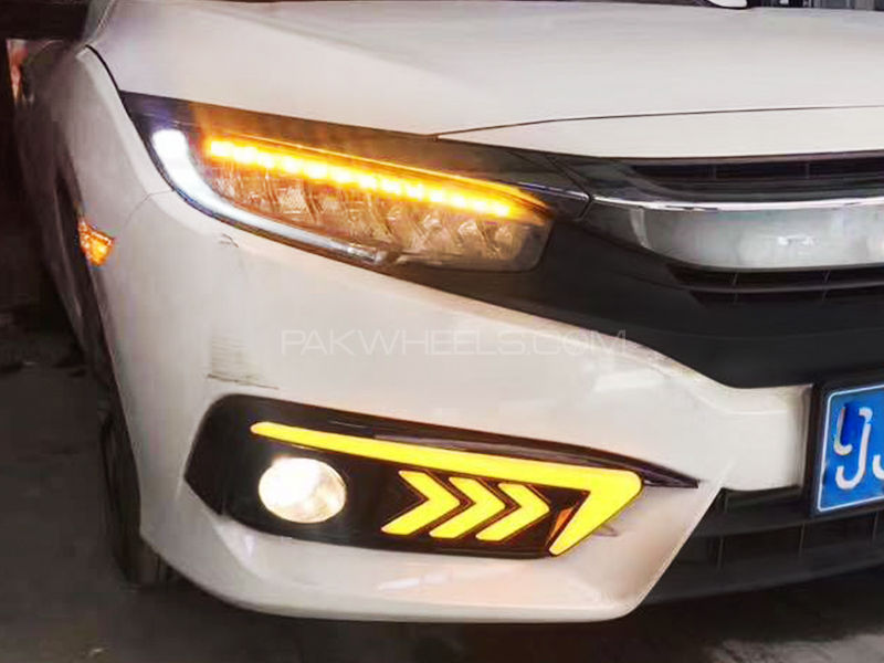 New Style LED DRL Fog Light Covers For Honda Civic 2016 - 2019 Image-1