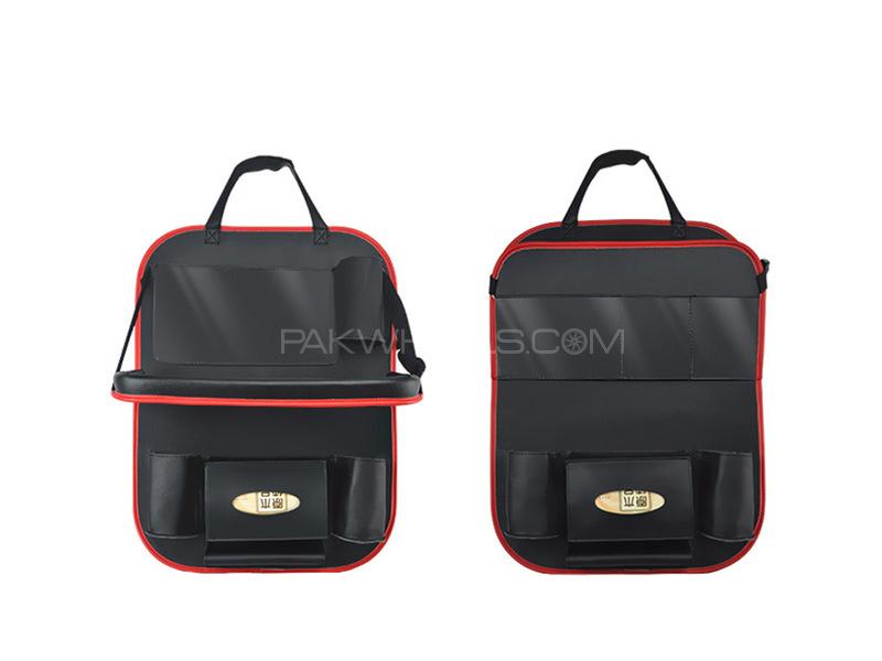 Rear Seat Organizer Red Black Image-1