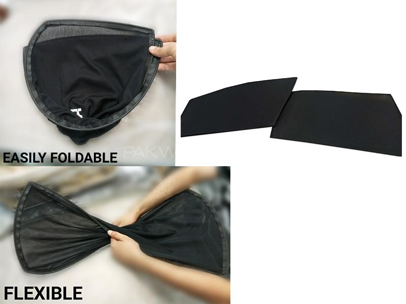 Foldable & Flexible Sun Shades For Toyota Passo 2008-2011 - Dark Black Image-1