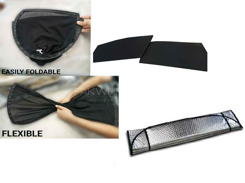 Flexible & Foldable Sun Shades With Front Silver Shade For Suzuki Wagon R 2014-2019 Local - Bundle P in Karachi