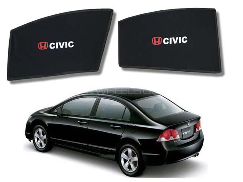 Foldable & Flexible Fix Shades With Logo For Honda Civic 2006-2012 - 4 Pcs Image-1