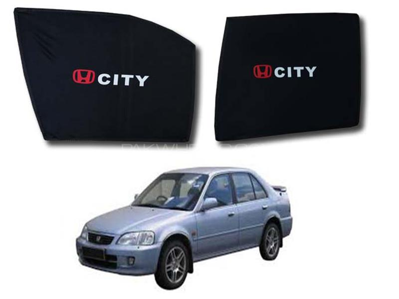 Foldable & Flexible Fix Shades With Logo For Honda City 1997-2001 - 4 Pcs in Karachi