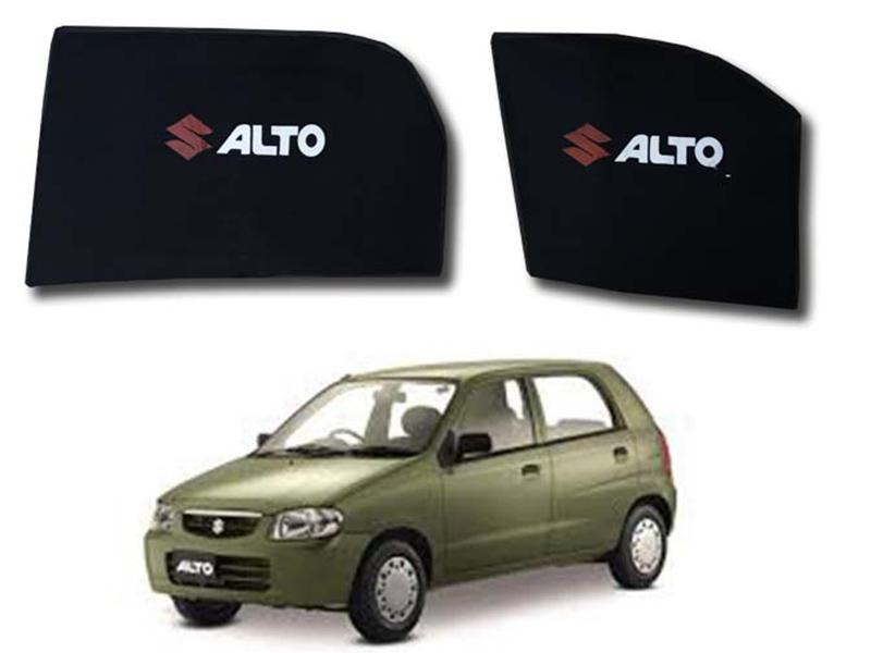 Foldable & Flexible Fix Shades With Logo For Suzuki Alto VXR 2000-2012 - 4 Pcs Image-1