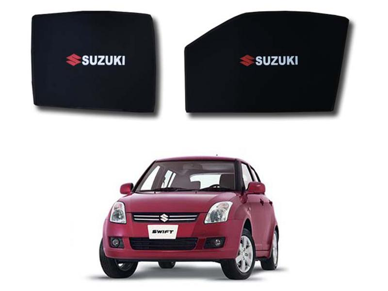 Foldable & Flexible Fix Shades With Logo For Suzuki Swift 2010-2019 - 4 Pcs Image-1