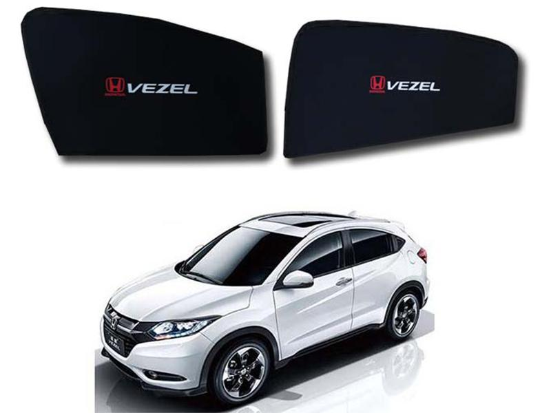 Foldable & Flexible Fix Shades With Logo For Honda Vezel 2013-2019 - 4 Pcs in Karachi
