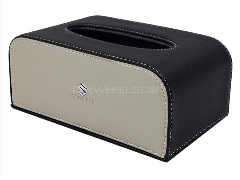 Suzuki Leather Tissue Box - Black & Beige Image-1