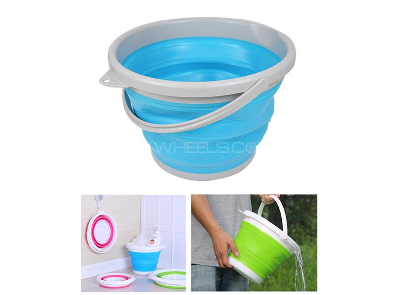 Portable Plastic & Rubber Travelling Foldable Bucket  Image-1
