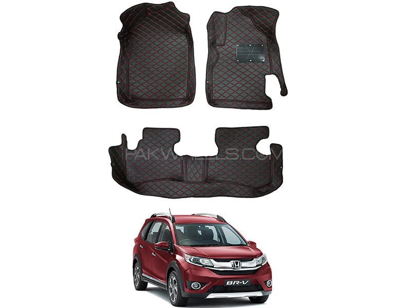 7D Luxury Floor Mats Black & Red Stitching For Honda BR-V 2017-2019 in Karachi