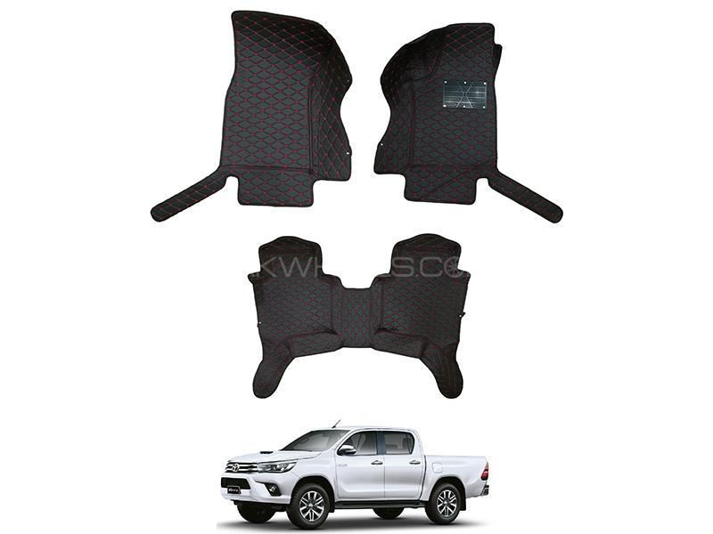 7D Luxury Floor Mats Black & Red Stitching For Toyota Hilux Revo 2016-2019 in Karachi