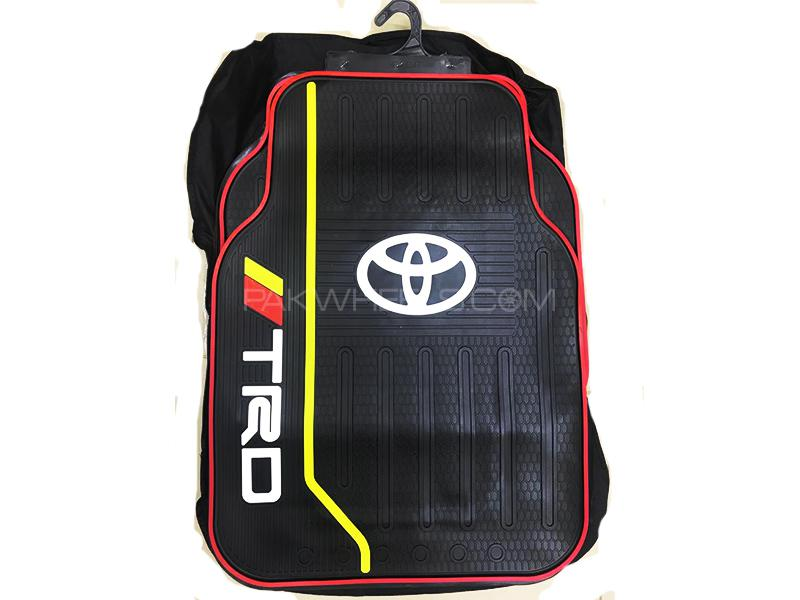 Universal Rubber Floor Mat Red & Yellow - Toyota TRD Image-1