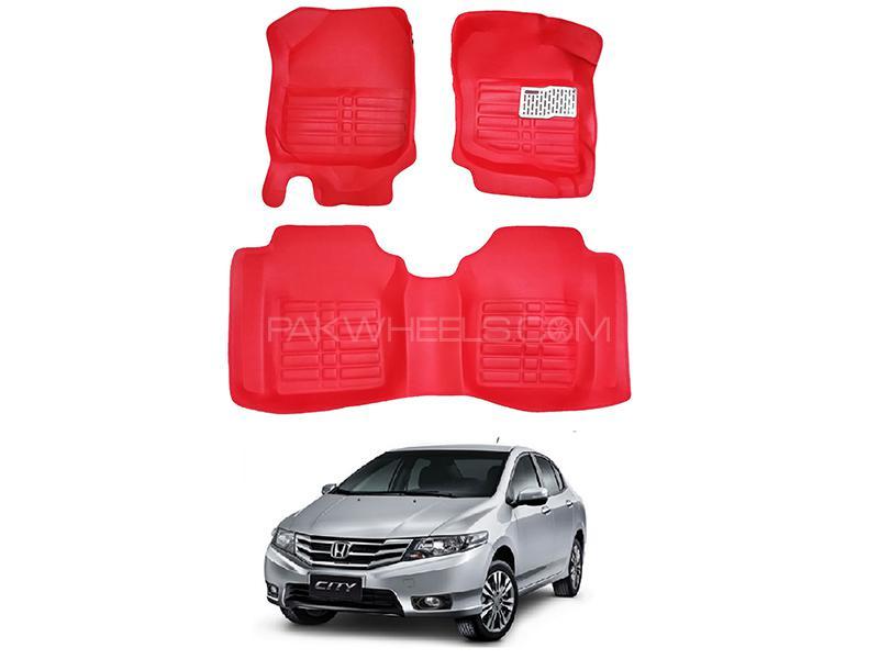 5D Custom Floor Mats Red For Honda City 2009-2019 Image-1
