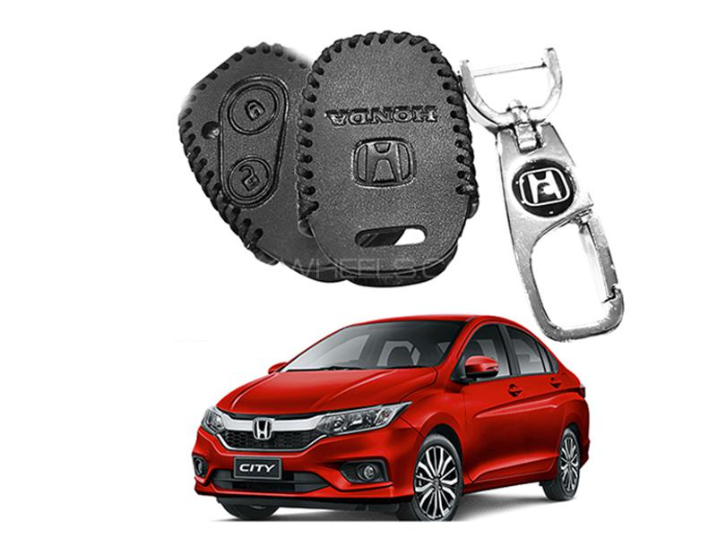 Leather Key Cover With Metal Chrome Keychain For Honda City 2009-2019 Image-1