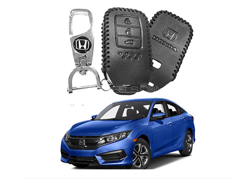 Leather Key Cover With Metal Chrome Keychain For Honda Civic 2016-2019 in Karachi
