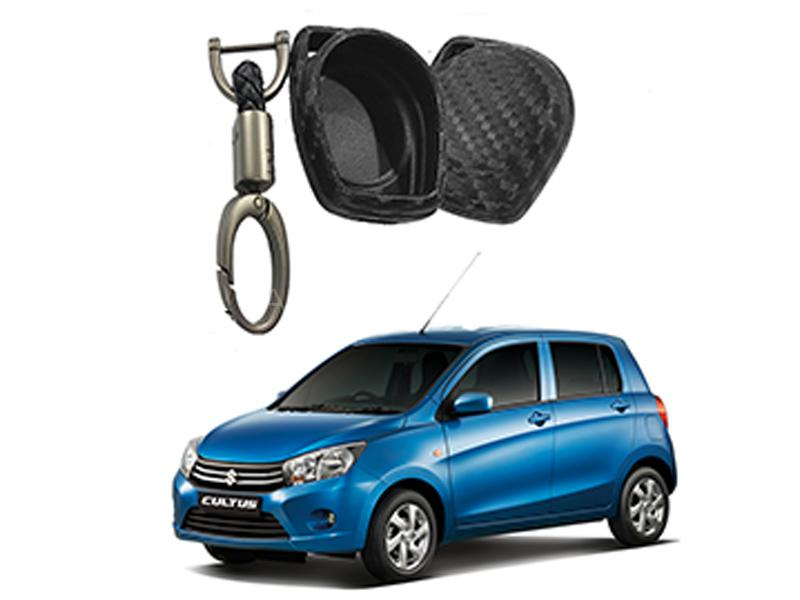 Carbon Fiber Style Key Cover With Rob Keychain For Suzuki Cultus 2017-2019 in Karachi