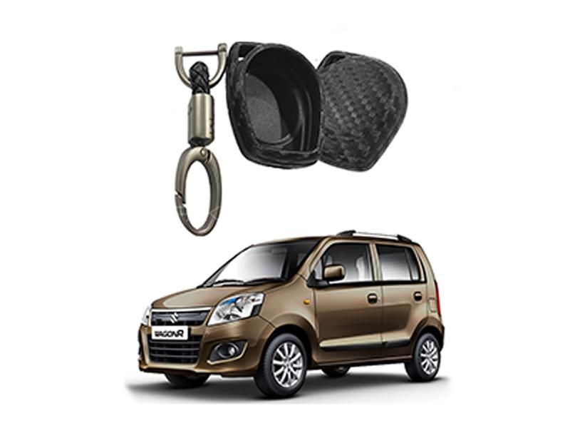 Carbon Fiber Style Key Cover With Rob Keychain For Suzuki Wagon R Image-1
