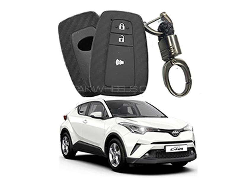 Carbon Fiber Style Key Cover With Rob Keychain For Toyota CHR 2016-2019 Image-1