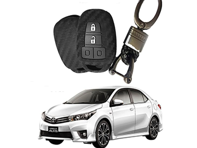 Carbon Fiber Style Key Cover With Rob Keychain For Toyota Corolla 2014-2016 Image-1