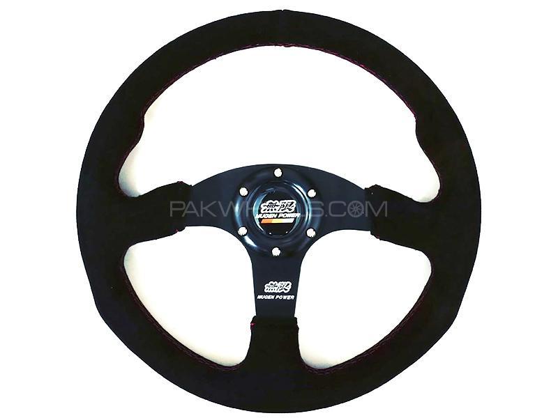 Universal Steering Wheel 350mm Suede Leather - Mugen Image-1