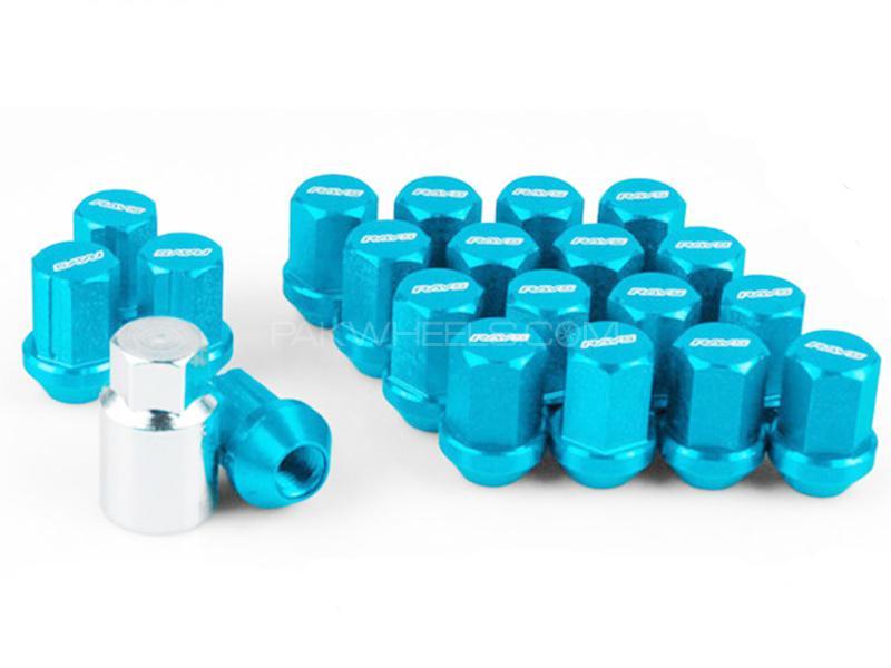 Rays Volk Hex Close End Wheels Lock Lug Nuts - Blue Image-1
