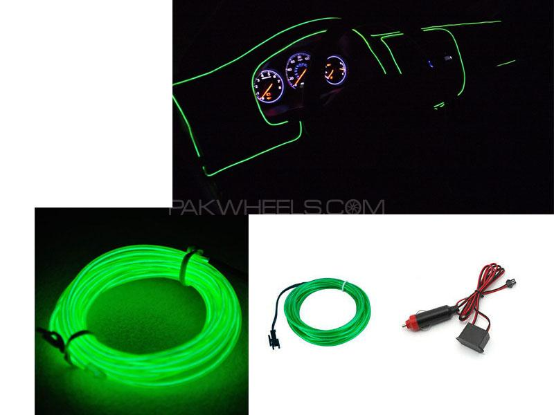 Neon Wire Glow For Interior Dashboard Light Green 2m Image-1