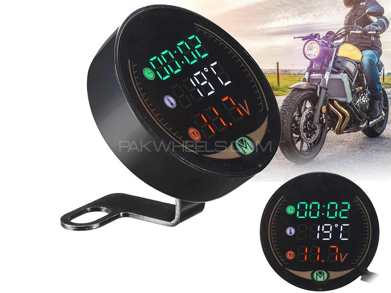 Digital Led Clock With Temperature and Volt Meter For Bikes Image-1