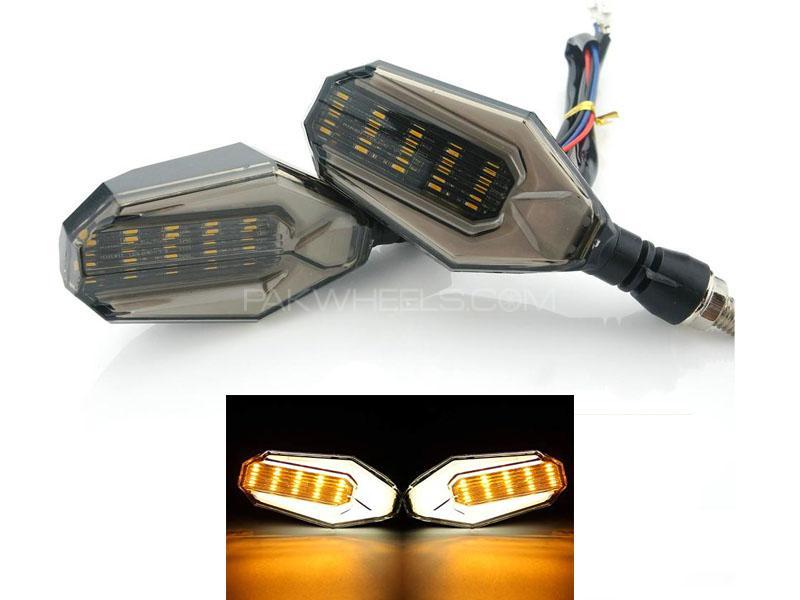 Universal Bike Indicators With Lava Drl Smd Audi Style White Yellow 2pcs Image-1
