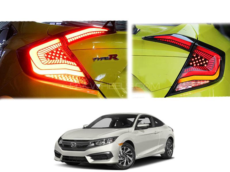 Honda Civic New Snake Style Lava Red LED Tail Lamps For 2016-2020 Image-1