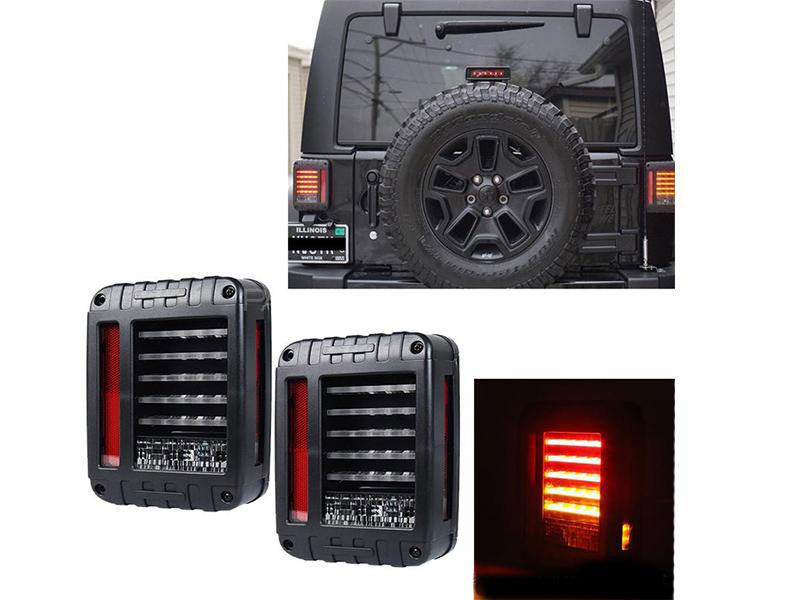 Universal Jeep Wrangler Lava Back lights Black Smoke DRL D2 Image-1