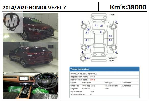 Honda Vezel Z  2014 Model Red wine Colour 38,000 km  Merchants Automobile Karachi Branch, We Offer Cars With 100% Original Auction Report Based Cars With Money Back Guarantee.  Recommended Tips To Buy Japanese Vehicle:  1. Always Check Auction Report. 2. Verify Auction Report From Someone Else. 3. Ask For Japan Yard Pics If Possible.  MAY ALLAH CURSE LIARS..