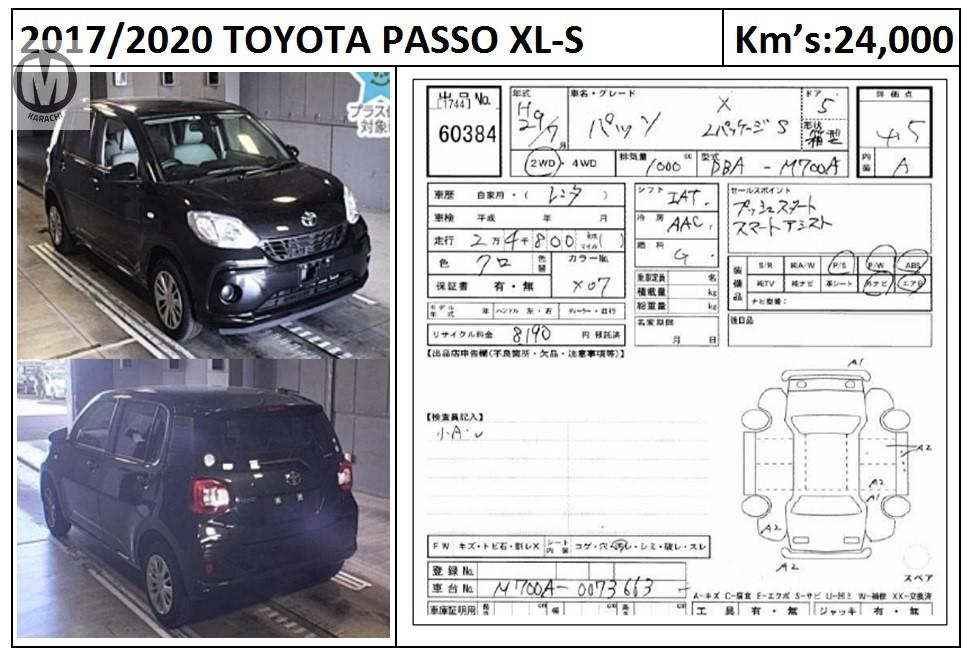 TOYOTA PASSO XLS 2017 MODEL BLACK COLOUR 24,000 KM GRADE 4.5  Merchants Automobile Karachi Branch, We Offer Cars With 100% Original Auction Report Based Cars With Money Back Guarantee.  Recommended Tips To Buy Japanese Vehicle:  1. Always Check Auction Report. 2. Verify Auction Report From Someone Else. 3. Ask For Japan Yard Pics If Possible.  MAY ALLAH CURSE LIARS..