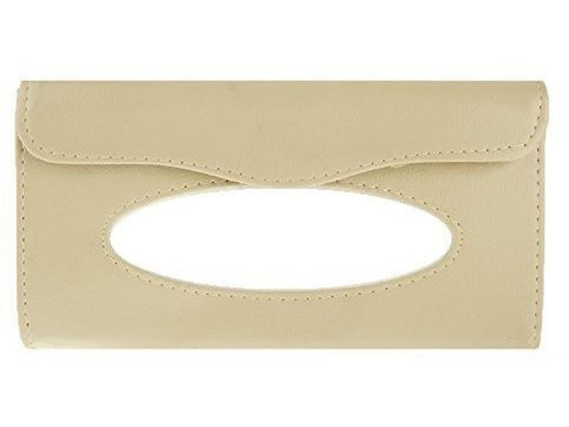 Universal Sun Visor Tissue Box Holder With Tissue - Beige Image-1