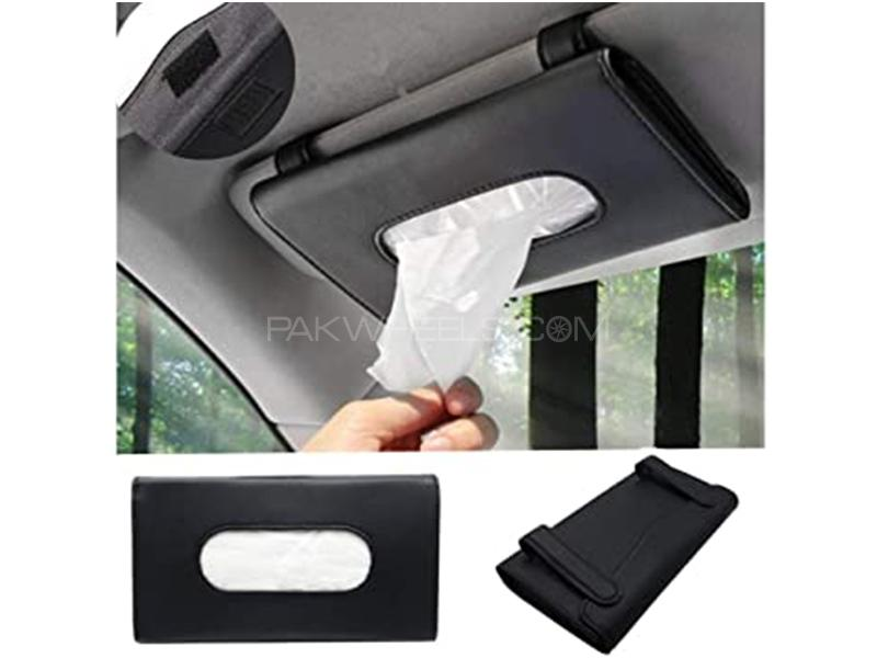 Universal Sun Visor Tissue Box Holder With Tissue - Black in Karachi