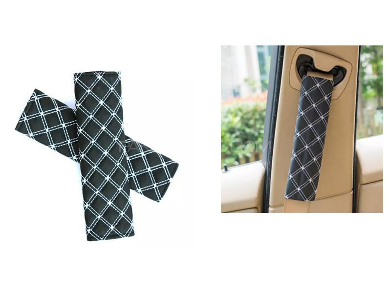 Seat Belt Covers Black And White 2pcs Image-1