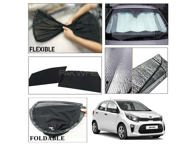 Kia Picanto 2019-2021 Foldable Shades And Front Silver Shade - Bundle Pack  in Karachi