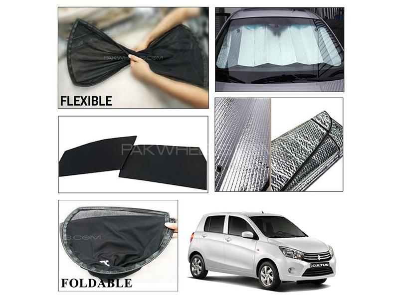 Suzuki Cultus 2017-2021 Foldable Shades And Front Silver Shade - Bundle Pack  in Karachi