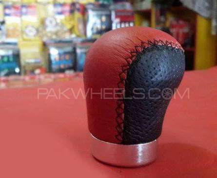 Gearknob Red Black Leather Image-1